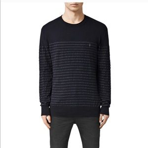 Men's All Saints Merino Wool Striped Black Sweater